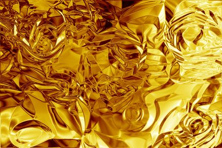 Shiny molten gold foil abstract metal and metallic texture