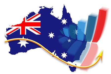 Vertical column graph reflection and yellow arrow over flag map of Australia
