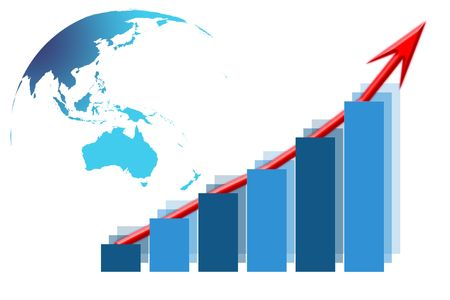 Vertical column graph increasing with red arrow and map of Australia and Oceania Stock Photo