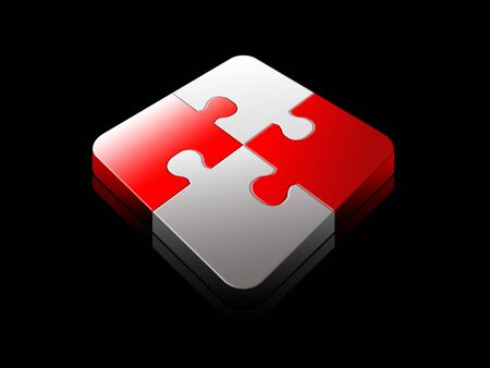 Red and white success 3d jigsaw puzzle solved over black background