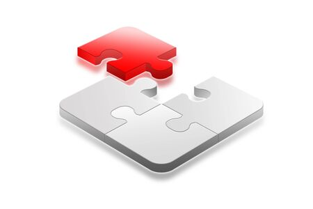 Red and white success 3d jigsaw puzzle almost solved