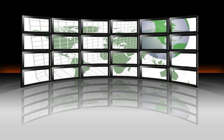 digital television: A wall of HD TV LCD Plasma Digital Television monitors with global world earth map of continents and grid Stock Photo