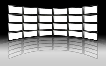 A wall of blank white HD TV LCD Digital Plasma Television monitors with reflection