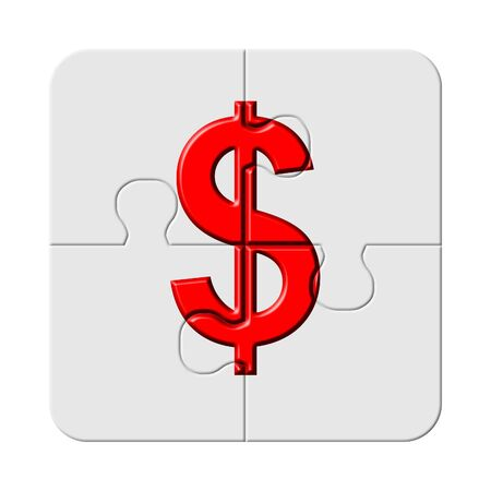 Red dollar sign on jigsaw puzzle piece