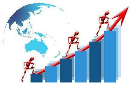 Global teamwork success graph Stock Photo