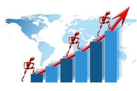 World teamwork success graph Stock Photo
