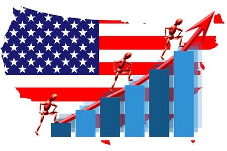 USA teamwork flag map and graph chart Stock Photo