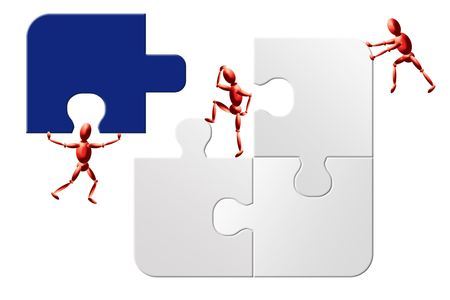 Impossible to solve teamwork jigsaw puzzle Stock Photo