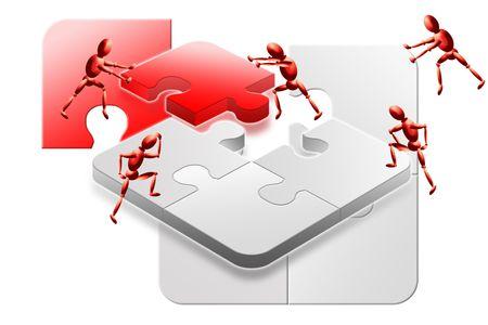 Red success teamwork 3d jigsaw puzzle