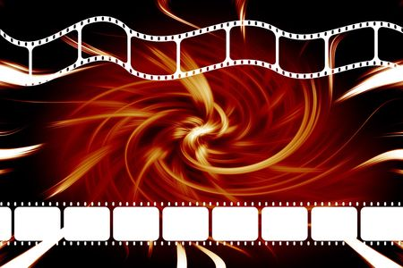 feature films: A modern theatre movie 35mm film dvd or reel strip over swirl red and black background