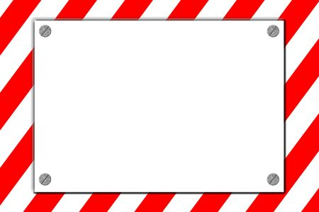 A striped red and white danger sign with silver screws glowing over background stripes