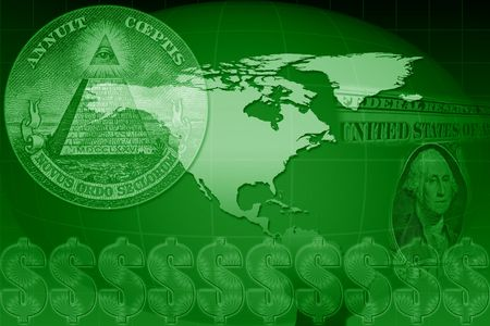 US dollar in a financial montage over map of USA