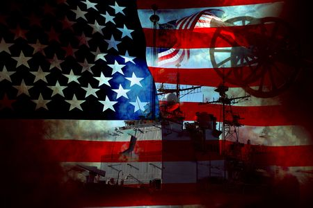 Battle damaged old glory flag and military war equipment Stock Photo