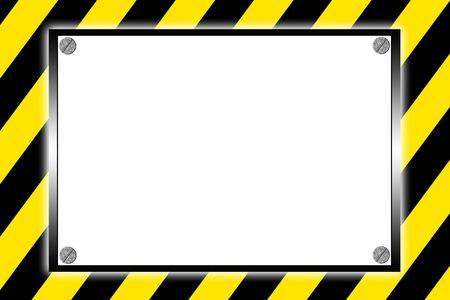 Striped caution hazard sign
