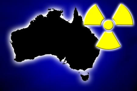 Nuclear radiation symbol over glowing electric map of Australia