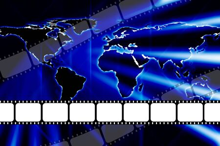 feature films: Modern world map style theatre movie 35mm film dvd or reel strip