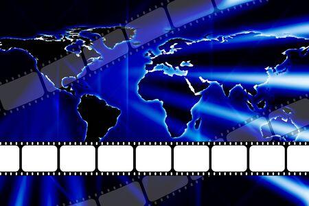 Modern world map style theatre movie 35mm film dvd or reel strip