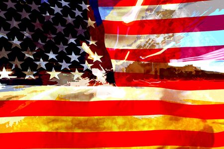 A grungy music looking USA flag design with a very modern look Stock Photo
