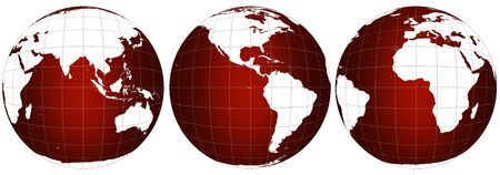 Three world map scenes in red glowing 3D isolatable at high resolution