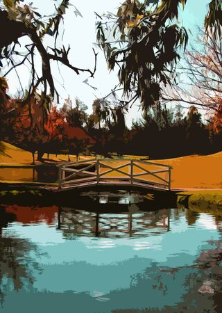 An illustration of a garden with bridge and pond in the fall season before winter Banco de Imagens