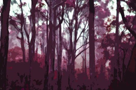 A forest of trees illustration drawing in the morning twilight with many layers of tree silhouettes Stock Photo