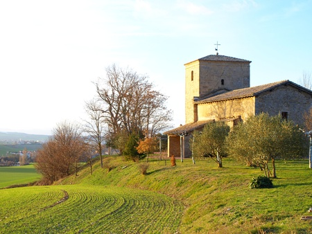 Sunlight on old rural church