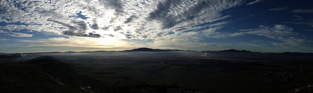 Panoramic view of sunrise lights over the Valley of Aibar photo