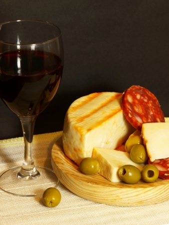 Red, Cheese, Sausage and Olives photo