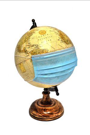 World globe with Coronavirus mask