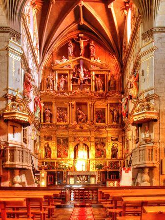 Interior view of a rural church in Spain