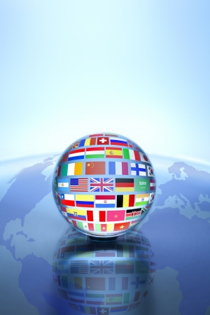 maps globes and flags: Communication World, Global Commerce  Stock Photo