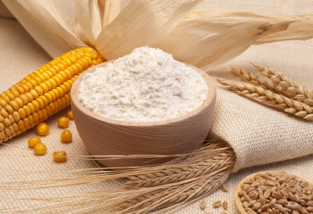 yellow flour: still life of bread and wheat flour, corn and oats