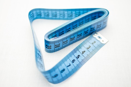 metric: Cloth tape measure with the metric division  Stock Photo