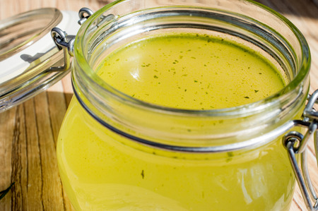 broth: Canned broth, bouillon, clear soup in a glass jar