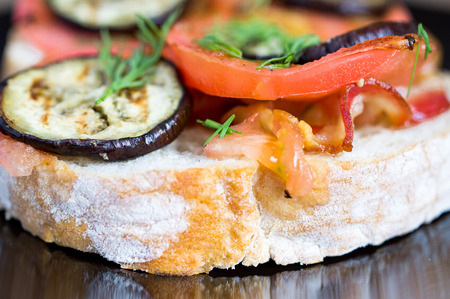 Sandwich with bacon, tomato and eggplant photo