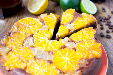 orange tart: Orange tart, cake, dessert. Coffee beans, lime and lemon Stock Photo