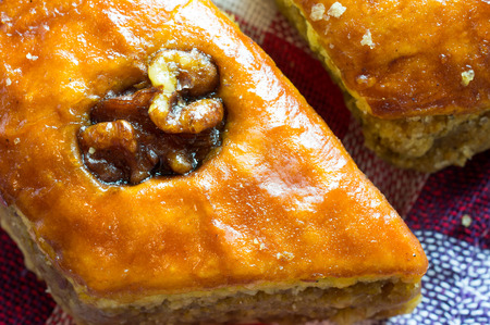 baklawa: Delicious baklava with walnuts closeup Stock Photo