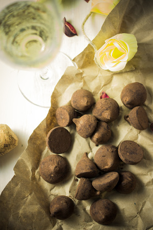 champagne truffles chocolate: Chocolates truffles and champagne white sparkling wine