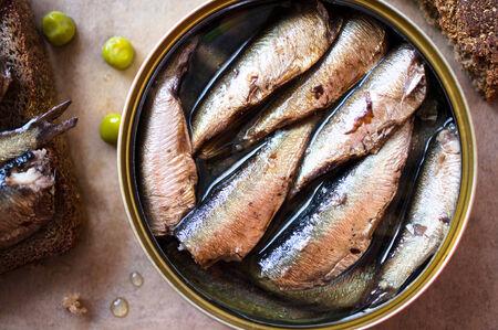 sprats: Tin can of sprats, sardines. Top view Stock Photo