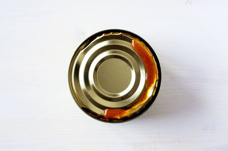 vegetable tin: Tomato soup in an open tin can Stock Photo