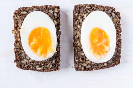 hard boiled: Hard boiled egg sandwich on a table