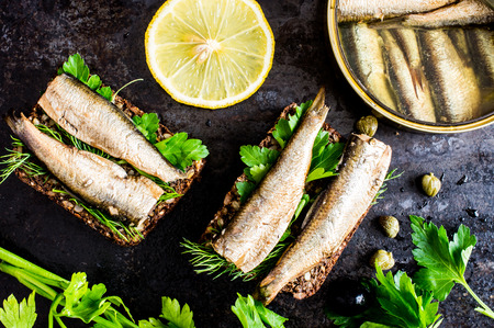 sprats: Sandwich with sardines, sprats with parsley and dill