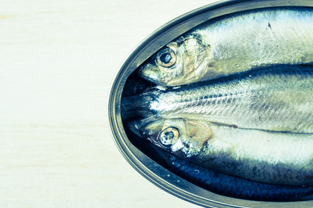 sprats: Sprats in a tin top view Stock Photo