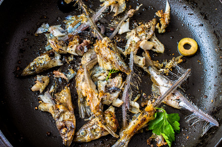 leavings: Frying pan with the leftovers of a fried fish