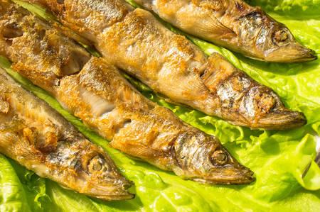 sardinas: Sardinas a la plancha sobre la lechuga y lim�n Foto de archivo