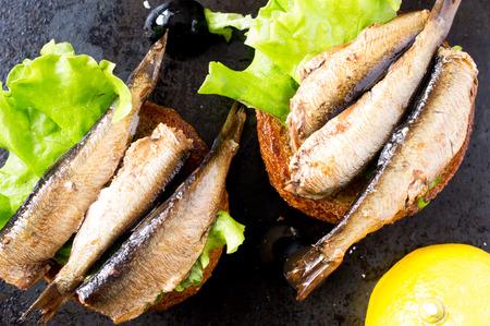 sardines: Tapas bun burger with smoked sardines or sprats