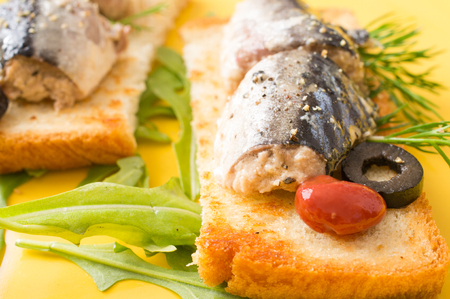 toasted sandwich: Roasted toasted sandwich with big Atlantic sardines in oil Stock Photo