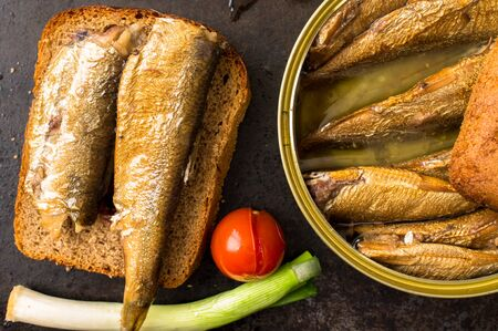 vegetable tin: Sandwich with smoked tins of sardines and pickled tomatoes. Top view Stock Photo
