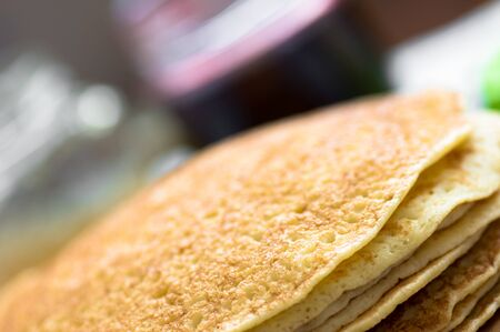 flapjacks: Russian blini close the angle of the background jam Stock Photo