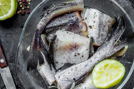 alaska pollock: Alaska pollock raw cut into pieces for cooking top view